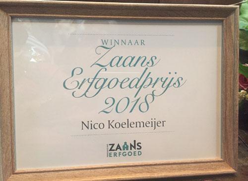 Nico wint de Zaanse Erfgoedprijs